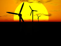 Wind turbines and sun. 3D rendering of wind turbines in front of the sun disc at sunset Stock Photo