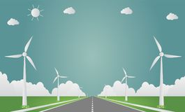 Wind turbines with sun clean energy with road eco-friendly concept ideas. illustration. Wind turbines with sun clean energy with road eco-friendly concept ideas Stock Image