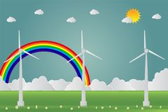 Wind turbines with sun clean energy with road eco-friendly concept ideas.vector illustration. Wind turbines with sun clean energy with road eco-friendly concept Royalty Free Stock Photo