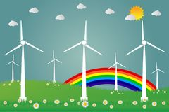 Wind turbines with sun clean energy with road eco-friendly concept ideas.vector illustration. Wind turbines with sun clean energy with road eco-friendly concept Stock Photo