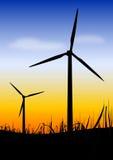 Wind turbines on sundown. Illustration of wind turbines with sundown landscape - convert the  energy in wind into mechanical energy Stock Photography