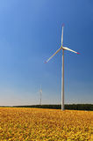 Wind turbines in sunflower field Royalty Free Stock Photography
