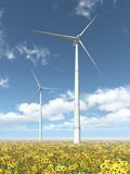 Wind turbines and sunflowers. Computer generated 3D illustration with wind turbines in a field of sunflowers Stock Photography