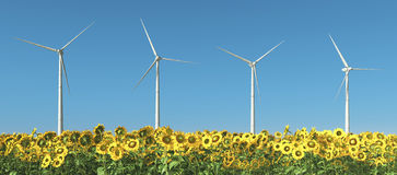 Wind turbines and sunflowers. Computer generated 3D illustration with wind turbines in a field of sunflowers Stock Image