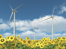 Wind turbines and sunflowers. Computer generated 3D illustration with wind turbines in a field of sunflowers Royalty Free Stock Images