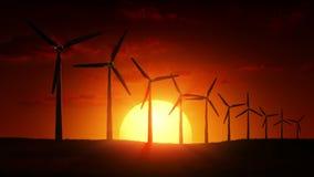 Wind Turbines at sunrise. 3d render stock video