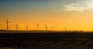 Wind turbines at sunrise Royalty Free Stock Image