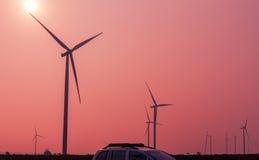 Wind turbines on sunrise Royalty Free Stock Photo