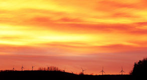 Wind Turbines at Sunrise in Vermont Stock Photos