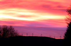 Wind Turbines at Sunrise in Vermont Mountains Stock Photo