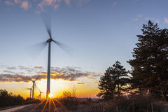 Wind Turbines at Sunrise 1. Windmills rotating energetically in the dawn wind Stock Photography