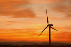 Wind turbines at sunset Royalty Free Stock Images