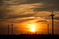 Wind turbines in sunset Stock Photography