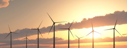 Wind turbines at sunset. Computer generated 3D illustration with wind turbines at sunset Royalty Free Stock Images