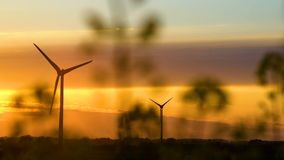 Wind turbines at sunset, green energy. 4K stock video footage