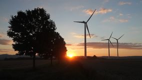 Wind turbines at sunset stock video