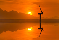 Wind turbines on the sunset sky background royalty free stock photos