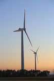 Wind Turbines After Sunset Stock Photo