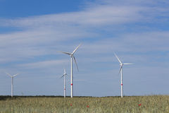 Wind turbines - sustainability - green energy landscape Royalty Free Stock Photo