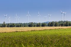 Wind turbines in Suwalki. Poland Royalty Free Stock Photos