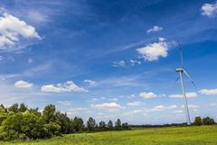Wind turbines in Suwalki. Poland Stock Images