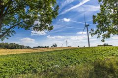 Wind turbines in Suwalki. Poland Royalty Free Stock Images