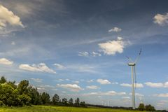 Wind turbines in Suwalki. Poland Stock Photo