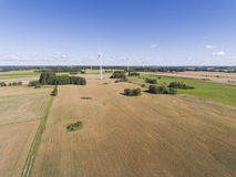 Wind turbines in Suwalki. Poland. View from above. Summer time. Stock Image