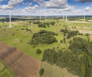 Wind turbines in Suwalki. Poland. View from above. Summer time. Stock Photography