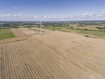 Wind turbines in Suwalki. Poland. View from above. Summer time. Royalty Free Stock Image