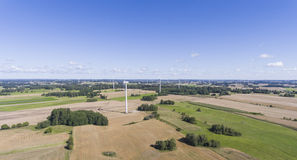 Wind turbines in Suwalki. Poland. View from above. Summer time. Royalty Free Stock Photography
