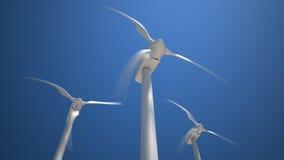 Wind turbines. Three rotating turbines on background of clear sky (timelaps sunrise and sunset