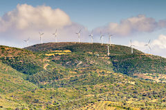 Wind turbines on top of the hills at Evia in Greece. Stock Image