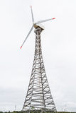Wind turbines. On top of mountain in a cloudy day Royalty Free Stock Photo