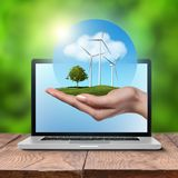 Wind turbines with tree in female hand in laptop Royalty Free Stock Image