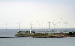 Wind Turbines Trekoner Fort Copenhagen Tom Wurl Stock Image