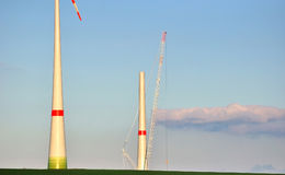 Wind turbines under construction. Royalty Free Stock Image