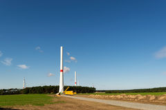 Wind turbines under construction Stock Images