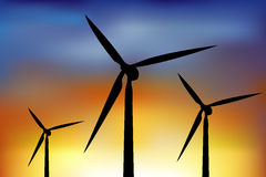 Wind Turbines. Vector Royalty Free Stock Images