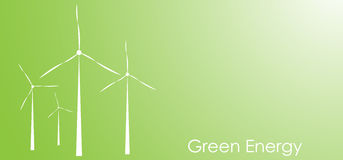 Wind turbines vector background with copy space. Green energy concept Royalty Free Stock Photos