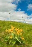 Wind turbines vertical Stock Photos