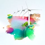 Wind turbines on watercolor background Stock Photos