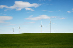 Wind Turbines in Western Kansas. On a sunny day Stock Images