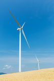 Wind turbines in a wheat field. Over a deep blue sky. Renewable energy ecological concept Stock Image