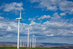 Wind turbines and wheat fields in Eastern Oregon Royalty Free Stock Photo