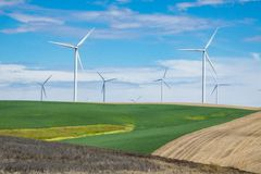 Wind turbines and wheat fields in Eastern Oregon stock photo