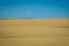 Wind turbines, wheat fields, Washington state Royalty Free Stock Image