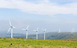 Wind turbines on a wind farm in Galicia, Spain Royalty Free Stock Photo