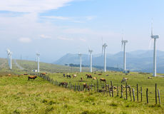 Wind turbines on a wind farm in Galicia, Spain Royalty Free Stock Photography