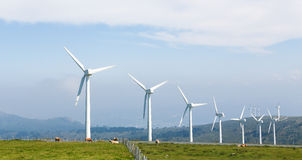 Wind turbines on a wind farm in Galicia, Spain Stock Photos